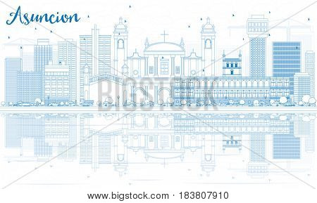 Outline Asuncion Skyline with Blue Buildings and Reflections.. Business Travel and Tourism Concept with Modern Architecture. Image for Presentation Banner Placard and Web Site.