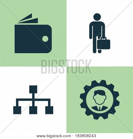 Trade Icons Set. Collection Of Hierarchy, Work Man, Billfold And Other Elements. Also Includes Symbols Such As Gear, Wallet, Purse.