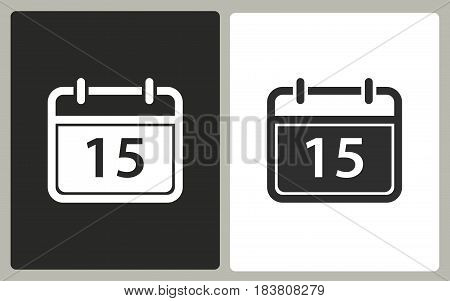 Calendar - black and white vector icons. Illustration isolated for graphic and web design.