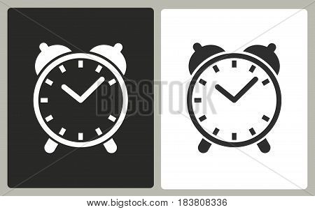 Clock - black and white vector icons. Illustration isolated for graphic and web design.