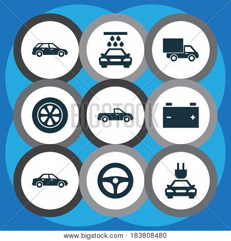 Automobile Icons Set. Collection Of Wheel, Lorry, Drive Control And Other Elements. Also Includes Symbols Such As Steering, Automobile, Water.