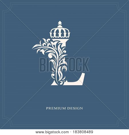 Vector illustration of Elegant letter L with a crown. Graceful royal style. Calligraphic beautiful logo. Vintage drawn emblem for book design brand name business card Restaurant Boutique Hotel.