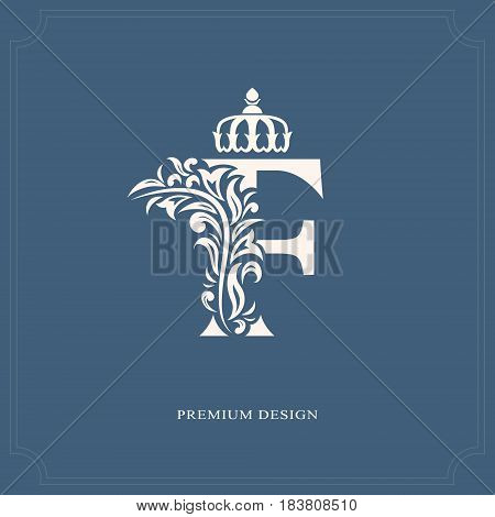 Vector illustration of Elegant letter F with a crown. Graceful royal style. Calligraphic beautiful logo. Vintage drawn emblem for book design brand name business card Restaurant Boutique Hotel.