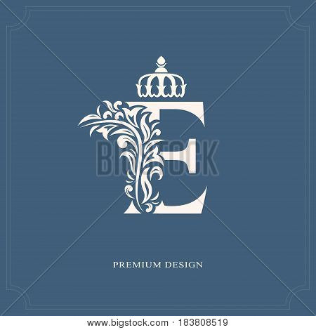Vector illustration of Elegant letter E with a crown. Graceful royal style. Calligraphic beautiful logo. Vintage drawn emblem for book design brand name business card Restaurant Boutique Hotel.