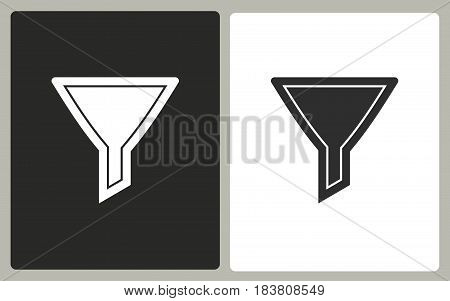 Funnel - black and white vector icons. Illustration isolated for graphic and web design.