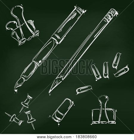 Abstract vector illustration with a pen pencil eraser paper clips and buttons. Set against the background of the school board.