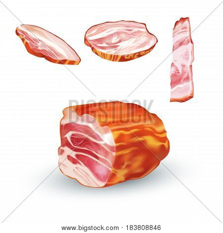 Vector realistic illustration of bacon. Colorful smoked pork.