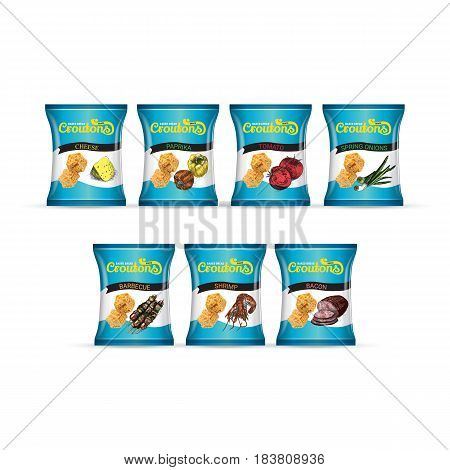 Crispy croutons package. Vector realistic illustration croutons in pack.