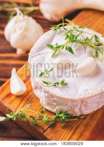 French Homemade Camembert Cheese With Thyme And Garlic