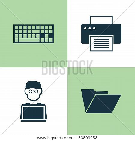 Computer Icons Set. Collection Of Programmer, Printing Machine, Dossier And Other Elements. Also Includes Symbols Such As Dossier, Man, Printing.