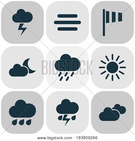 Climate Icons Set. Collection Of Weather, Rainy, Haze And Other Elements. Also Includes Symbols Such As Sun, Clouds, Drop.