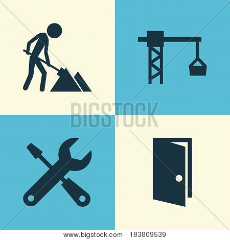 Architecture Icons Set. Collection Of Service, Lifting Hook, Maintenance And Other Elements. Also Includes Symbols Such As Maintenance, Construction, Tools.