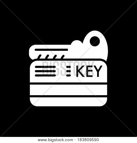 hotel key vector icon. Isolated on black. solid style. eps 10