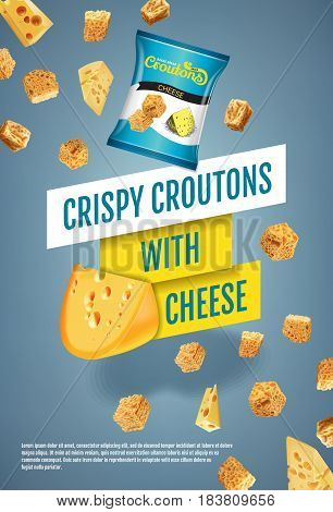 Crispy croutons ads. Vector realistic illustration of croutons with cheese. Vertical poster with product.