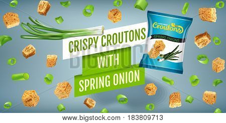 Crispy croutons ads. Vector realistic illustration of croutons with spring onion. Horisontal banner with product.