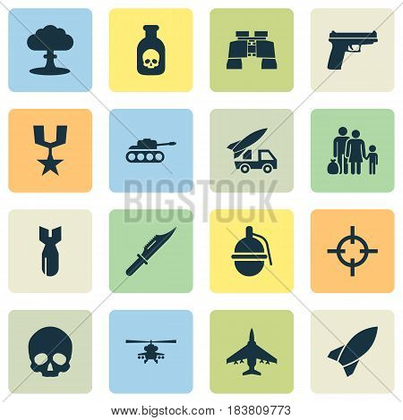 Combat Icons Set. Collection Of Missile, Fugitive, Chopper And Other Elements. Also Includes Symbols Such As Skull, Binoculars, Ordnance.