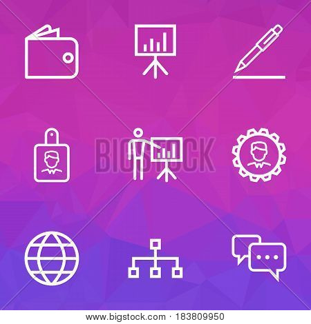 Business Outline Icons Set. Collection Of Conversation, Manager, Global And Other Elements. Also Includes Symbols Such As Pen, Conversation, Manager.