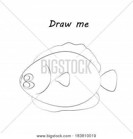 Draw me - vector illustration of sea animals. The flounder coloring game for children