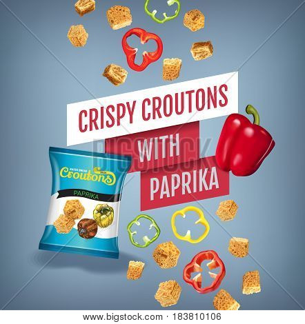 Crispy croutons ads. Vector realistic illustration of croutons with paprika. Poster with product.