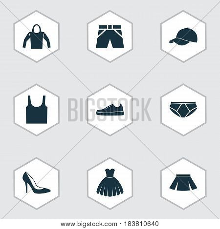 Dress Icons Set. Collection Of Sweatshirt, Trunks Cloth, Singlet And Other Elements. Also Includes Symbols Such As Sneakers, Tank, Briefs.