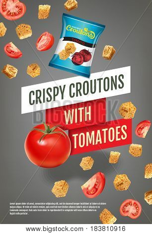 Crispy croutons ads. Vector realistic illustration of croutons with tomato. Vertical poster with product.