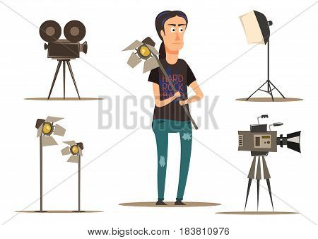 Flat group set of movie making assistant and necessary equipment isolated on white background vector illustration