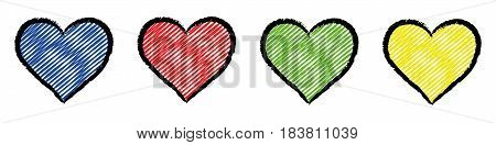 Five hearts colored with bright primary colors.