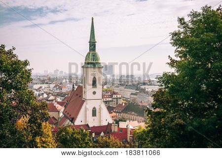 St. Martin's Cathedral, Bratislava, As Seen From The Hills Around Bratislava Castle.