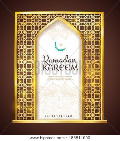 Ramadan holy month islamic traditions golden frame festive decorative religious attribute present isolated object icon vector illustration