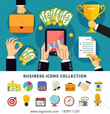 Business icon set of flat isolated emoji style finance alarm organizer and goal achievement pictogram images vector illustration