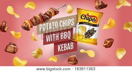 Potato chips ads. Realistic illustration with potato chips with BBQ kebab. Horizontal banner with product.