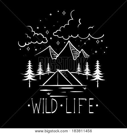Mountain explorer vintage label vector illustration. Mountain expeditions logo. Wild life. vector illustration for you design.