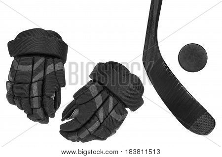Hockey gloves putter and washer on a white background. Isolated