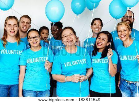 Group of volunteer diversity people smiling togetherness
