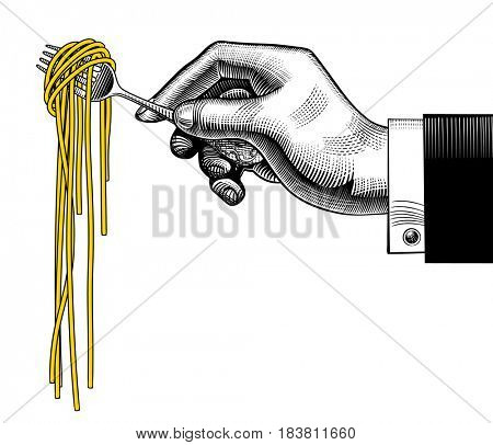 Hand holding a fork with spaghetti. Vintage stylized drawing