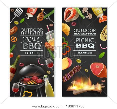 Picnic barbecue vertical banners with meat on grill vegetables wine sauces on black background isolated vector illustration