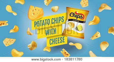 Potato chips ads. Vector realistic illustration of potato chips with cheese. Horizontal banner with product.
