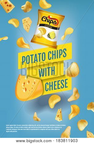Potato chips ads. Vector realistic illustration of potato chips with cheese. Vertical poster with product.