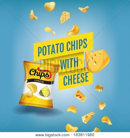 Potato chips ads. Vector realistic illustration of potato chips with cheese. Poster with product.