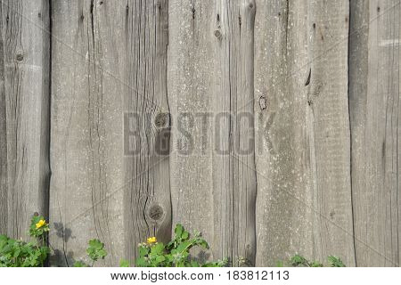 Old fashioned wooden rusty retro lumber fence