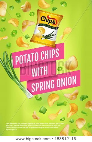 Potato chips ads. Vector realistic illustration of potato chips with spring onion. Vertical poster with product.
