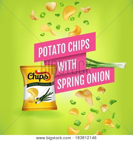 Potato chips ads. Vector realistic illustration of potato chips with spring onion. Poster with product.