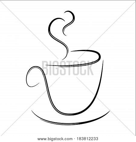 Abstract Stylized Illustration of a Steaming Black and White Coffee Mug