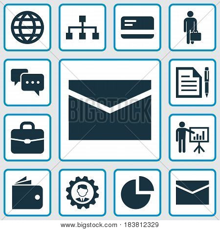 Business Icons Set. Collection Of Earth, Envelope, Pie Bar And Other Elements. Also Includes Symbols Such As Page, Envelope, Mail.