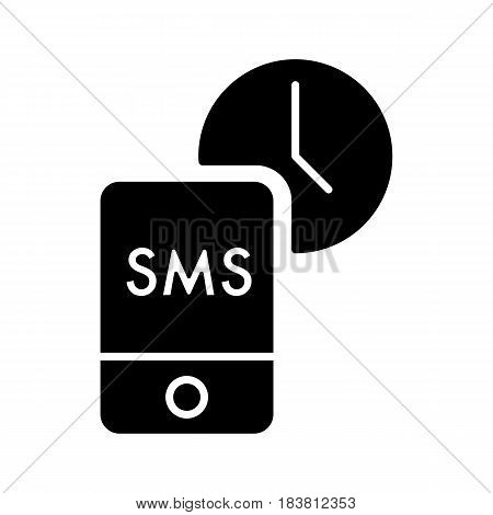 Message Time vector icon. Style is line symbol, black color. eps 10
