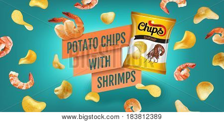 Potato chips ads. Vector realistic illustration of potato chips with shrimps. Horizontal banner with product.