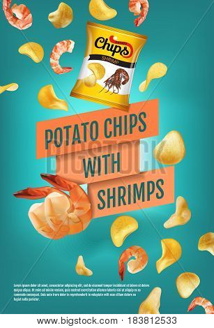 Potato chips ads. Vector realistic illustration of potato chips with shrimps. Vertical poster with product.