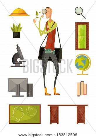 Teacher of biology retro style set with plants magnifier computer microscope desk and blackboard isolated vector illustration