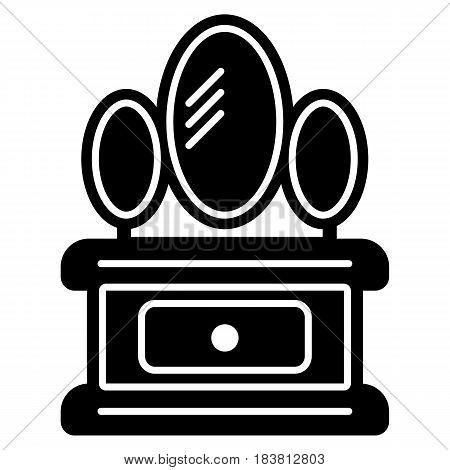 Dresser with mirror icon. White background. Vector illustration. eps 10