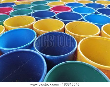 Colorful PVC plastic pipe cut and Artistic background